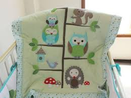 baby bedding set embroidery cartoon owls bird hedgehog squirrel crib bedding set 100 cotton including baby quilt etc boys twin size bedding character
