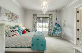 blue hanging chairs for bedrooms. Pretty Girls Bedroom With Aqua Color Hanging Chair And Feather Chandelier Blue Chairs For Bedrooms R
