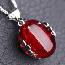 details about red stone pendant necklace chalcedony xmas jewellery gift for her wife mum women