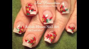 Poinsettia Designs Easy Christmas Nail Art Design Xmas Poinsettia Flower Nails Tutorial