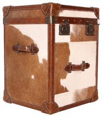 pasargad paris club side table with brown and white cowhide