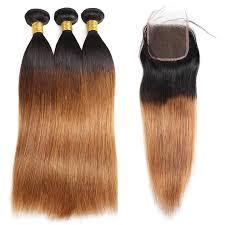 Lolly Straight Virgin Human <b>Ombre</b> Peruvian Hair <b>Bundles With</b> ...