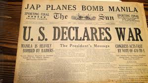 Newspaper headlines from Monday  December          the day after Pearl Harbor was