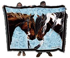 Horse Design Throw Blanket Pure Country Weavers Warriors Truce Woven Horses Large Soft Comforting Throw Blanket With Artistic Textured Design Cotton Usa 72x54