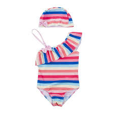 Walmart Swimsuit Size Chart Baby Girl Rainbow Swimsuit One Shoulder Striped Ruffle Swimwear One Piece Bathing Suit Summer And Sunscreen Outfit