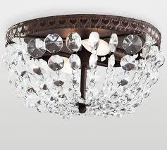 mia faceted crystal flushmount pottery barn for flush mount chandelier decor 3