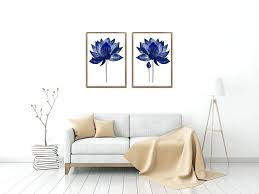 2 piece canvas wall art navy blue flower pieces set prints lotus painting abstract minimalist living room decor g on winter blooms ii canvas wall art with wall arts 2 piece canvas wall art navy blue flower pieces set