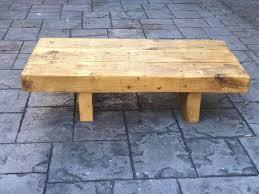 reclaimed solid oak railway sleeper coffee table