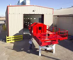 sandblasting painting services completed oilfield draworks skid with marine coating