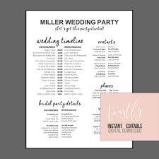 Wedding Timeline Classy FullyEditable Wedding Timeline Edit In Word Phone Etsy