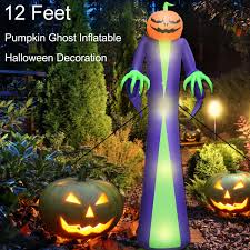 Outdoor Light Up Halloween Tree Toplee Built In Sandbag 12 Ft Halloween Inflatables Outdoor Decorations Blow Up Pumpkin Wizard Built In 4 Led Lights With Tethers Stakes For