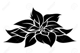 Christmas Poinsettia Vector Black Silhouette