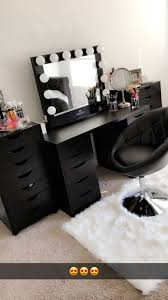 beautiful black vanity makeup room has ikea alex drawers and linnmon table top