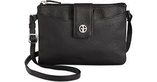 giani bernini leather softy accordion cross in black save 14 lyst