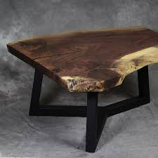 walnut live edge coffee table y leg