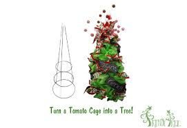 make a tree using a tomato cage and deco poly mesh