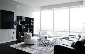 black white living room. View In Gallery Posh Black And White Living Room With Plenty Of Natural Ventilation W