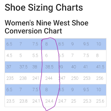 Nine West Shoe Size Chart Australia 41 Meticulous Nine West Shoe Size Conversion Chart