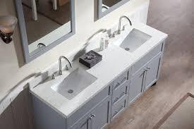 ariel hamlet 73 double sink vanity set with white quartz countertop in grey