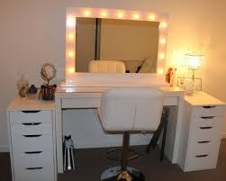 mesmerizing white makeup vanity set with lights