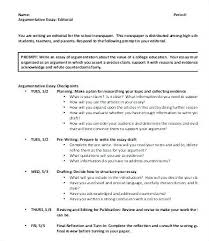Argumentative Essay Outline Example Examples Of Sample Co