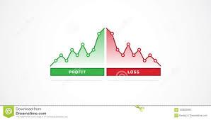 profit loss graph financial profit and loss graph charts stock vector