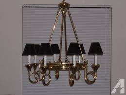 beautiful polished brass french horn 8 light