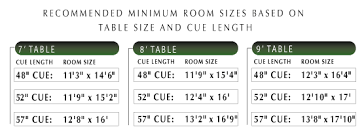 Pool Table Sizes Chart Size Chart Info Aaa Billiards We Move Recover And