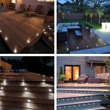 Details About 10pc Cool White Led Deck Lights Kit Outdoor Garden Step Stair Landscape Pathway