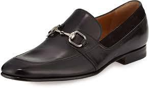 gucci leather square horsebit loafer black