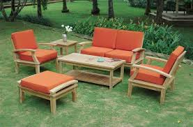 wood patio furniture decoration ideas outdoor table set with cushion and chairs sets 1