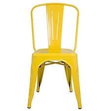 xavier pauchard french industrial dining room furniture. ModHaus Yellow Xavier Pauchard Tolix A Style Chair In Powder Coat Finish Galvanized Steel Metal Stackable French Industrial Dining Room Furniture