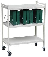 Medical Chart Carts With Vertical Racks Economy Open Style Chart Racks Wired Dividers