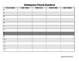 Emergency Phone Numbers Template