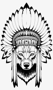 Wolf Headdress эскизы тату волк индеец Free Transparent Png