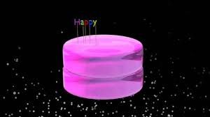 Glossy Cake Falling Top Letters Happy Birthday Animation Stock
