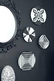 decorative wall plates black white acrylic paint geometric pattern white wall plates wall plates decor black