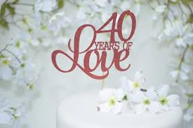 40th Wedding Anniversary Cake Topper Red Cake Topper Ruby Etsy