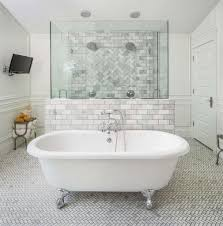 Jetted clawfoot tubs 55 Inch Small Printed Floor Tiles With Comfortable Jetted Clawfoot Tub For White Bathroom Interior Color Combo Goghdesigncom Small Printed Floor Tiles With Comfortable Jetted Clawfoot Tub For