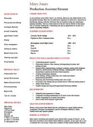 Free Entry Level Production Assistant Resume Template Sampl Saneme