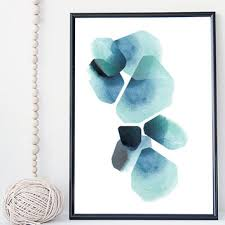 >shop pebble art on wanelo watercolor pebbles stone art print poster wall art blue indigo