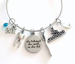 graduation gift for dental istant da jewelry charm bracelet bangle 2017 graduate dentist women her she believed she could so she did by ajoyfulsurprise