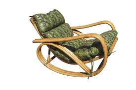 a rare paul frankl inspired three strand pretzel arm rattan rocking chair with faux snakeskin