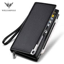 <b>WILLIAMPOLO</b> Fashion <b>Long</b> Design Genuine Cow Leather <b>Wallet</b> ...