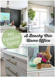 Chic home office Small Beachy Chic Home Office Life On Virginia Street For Just Girl And Her Just Girl And Her Blog My Favorite Space Beachy Chic Home Office By Life On Virginia