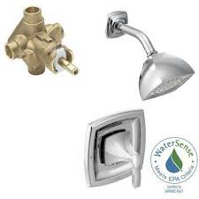 voss single handle 1 spray positemp shower faucet trim kit with valve in chrome
