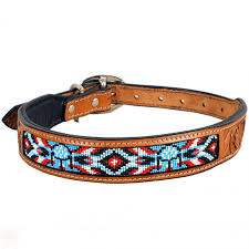 leather beaded hand tooled dog collar tan zoom