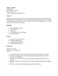 Download Resume Sample Objectives   haadyaooverbayresort com Sample Food Server Examples Restaurant Server Skills Food Description For