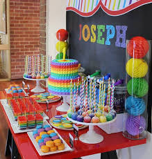 Love the Chalkboard Back Drop for this Adorable Rainbow Party Table