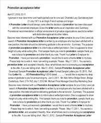 Sample Of Promotion Letter 33 Acceptance Letters In Pdf